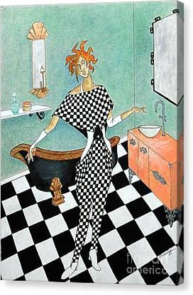 La Toilette -- Woman In Whimsical Art Deco Bathroom Canvas Print