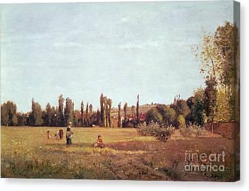 Workers Canvas Print - La Varenne De St. Hilaire by Camille Pissarro