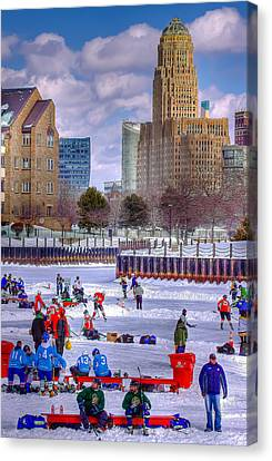 Canvas Print featuring the photograph Labatts Pond Hockey by Don Nieman