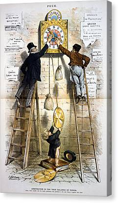 Labor Movement. Editorial Cartoon Canvas Print by Everett