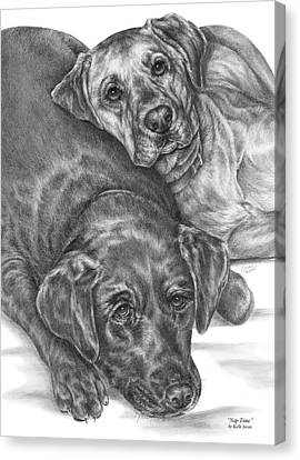 Labrador Dogs Nap Time Canvas Print by Kelli Swan