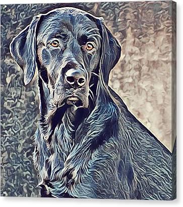 Labrador Retriever - Black Lab Dog Canvas Print by Mike Rabe