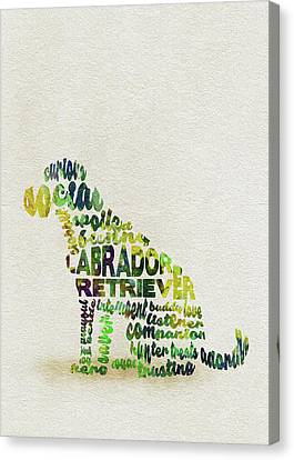 Labrador Retriever Watercolor Painting / Typographic Art Canvas Print