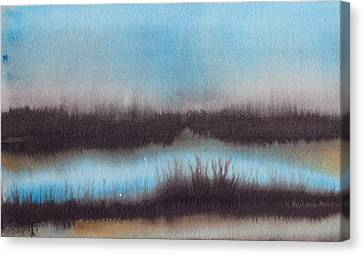 Canvas Print featuring the painting Lac Au Soir by Marc Philippe Joly