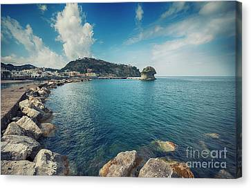 Canvas Print featuring the photograph Lacco Ameno Harbour ,  Ischia Island by Ariadna De Raadt