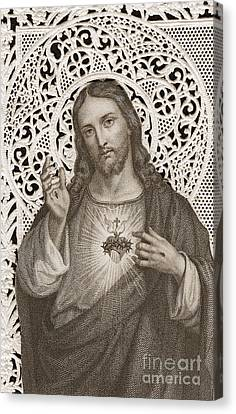Lace Card Depicting The Sacred Heart Of Jesus Canvas Print by French School