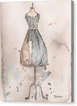 Loose Watercolor Canvas Print - Lace Champagne Dress by Lauren Maurer