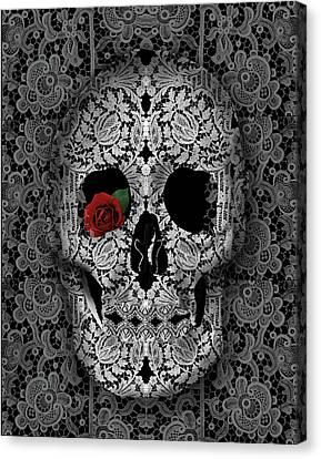 Lace Skull Black Canvas Print by Bekim Art