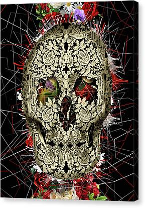 Lace Skull Floral Canvas Print by Bekim Art