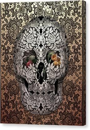Lace Skull Sepia Canvas Print by Bekim Art