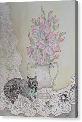 Lace With Stirling Silver Canvas Print