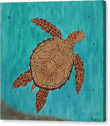 Lacey's Sea Turtle Canvas Print by Susie WEBER