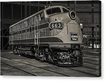Lackawanna 663 Railroad Train Bw Canvas Print by Susan Candelario