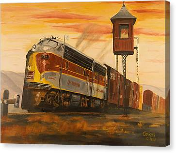 Train Crossing Canvas Print - Lackawanna Fast Freight by Christopher Jenkins