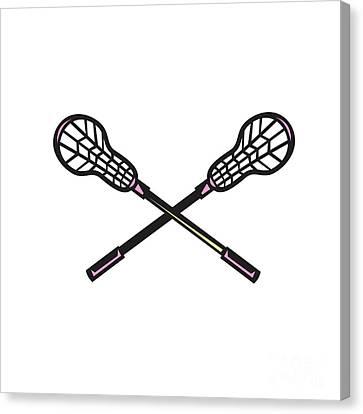 Lacrosse Stick Woodcut Canvas Print by Aloysius Patrimonio