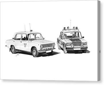 Lada Vaz 21011 Taxi 2107 Police Canvas Print by Gabor Vida
