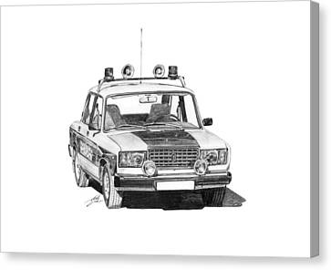 Lada Vaz 2107 Police Car Canvas Print by Gabor Vida
