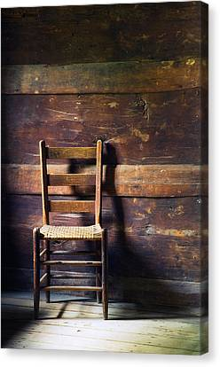 Ladderback Chair In Empty Room Canvas Print by Panoramic Images
