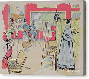 Artist At Easel Canvas Print - Ladies Attending A Painting Class, 1902 by E Thelem