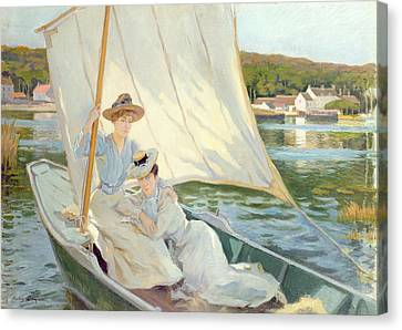 1868 Canvas Print - Ladies In A Sailing Boat  by Jules Cayron