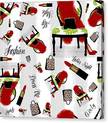 Popular Canvas Print - Ladies Night Out Fashion Pattern, Feather Boa, Lipstick, Shopping by Tina Lavoie
