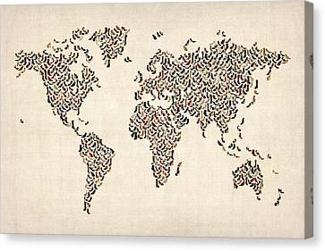 World Map Canvas Print - Ladies Shoes Map Of The World Map by Michael Tompsett