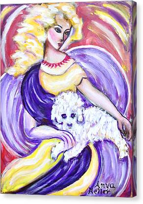Canvas Print featuring the painting Lady And Maltese by Anya Heller
