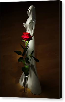 Lady And Rose Canvas Print by Svetlana Sewell