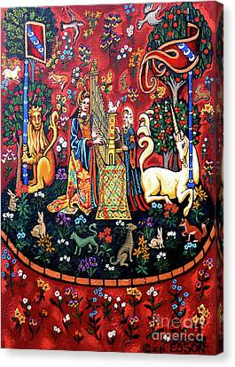 Canvas Print featuring the painting Lady And The Unicorn Sound by Genevieve Esson