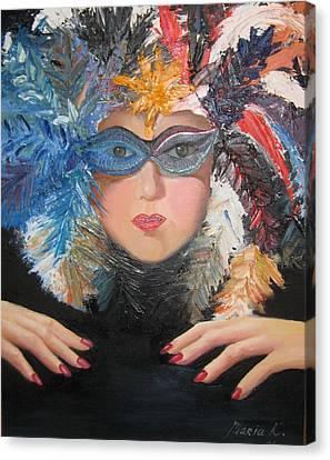 Lady At A Carvinal  Canvas Print by Maria Kobalyan