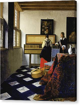 Lady At The Virginal With A Gentleman Canvas Print by Jan Vermeer