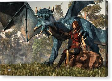 Lady Blue Dragon Canvas Print