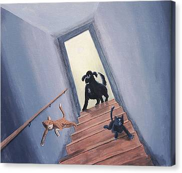 Lady Chases The Cats Down The Stairs Canvas Print