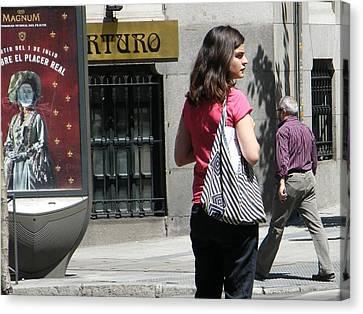 Lady Crossing Sagasta Street - Madrid Canvas Print by Thomas Bussmann