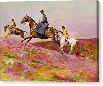 Lady Currie With Her Sons Bill And Hamish Hunting On Exmoor  Canvas Print by Cecil Charles Windsor Aldin