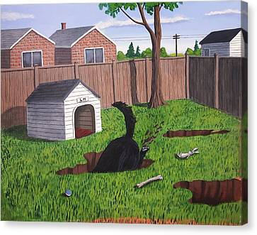 Lady Digs In The Backyard Canvas Print