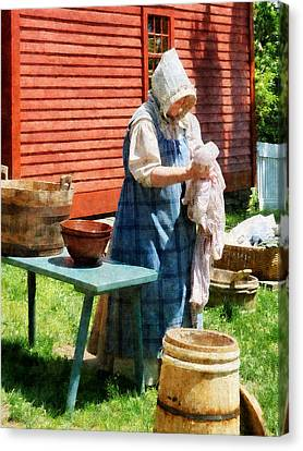 Wash Canvas Print - Lady Doing Laundry by Susan Savad