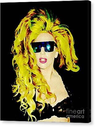 Lady Gaga In  Shades Canvas Print by John Malone