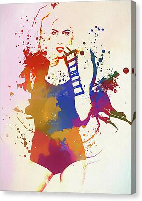 Bad Romance Canvas Print - Lady Gaga Watercolor Splatter by Dan Sproul