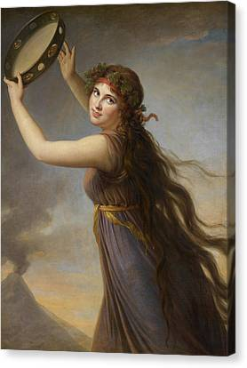 Lady Hamilton, As A Bacchante Canvas Print by Elisabeth Louise Vigee-Lebrun