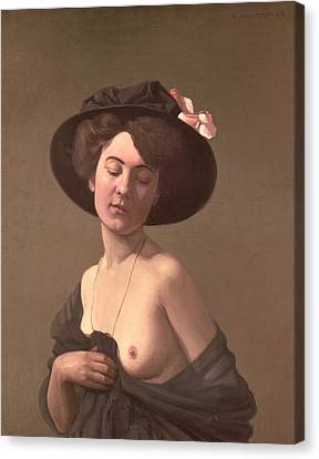 Lady In A Hat Canvas Print by Felix Edouard Vallotton