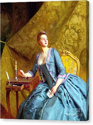 Lady In An Interior Canvas Print by Gustave Jacquet