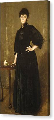 Lady In Black Canvas Print by William Merritt Chase