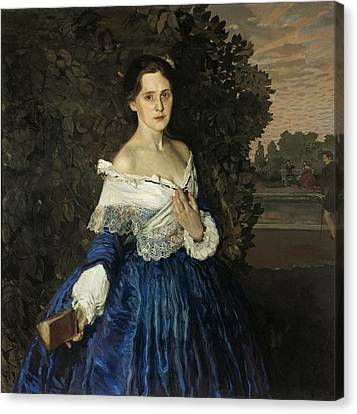 Lady In Blue. Portrait Of Ye.m. Martynova Canvas Print by Konstantin Somov