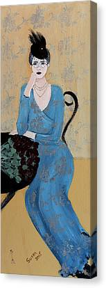 Chin On Hand Canvas Print - Lady In Blue Seated by Susan Adams