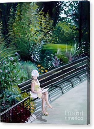 Canvas Print featuring the painting Lady In Central Park by Elizabeth Robinette Tyndall