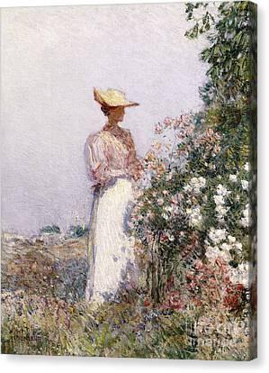 Lady In Flower Garden Canvas Print
