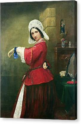Lady In French Costume Canvas Print