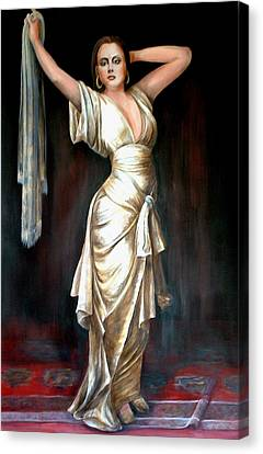 Lady In Gold Gown Canvas Print