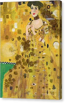 Lady In Gold Canvas Print by P J Lewis
